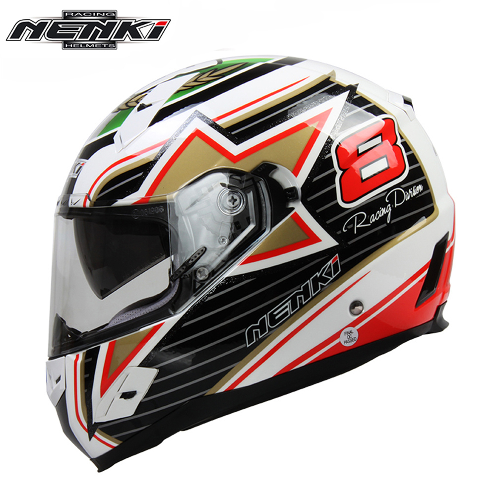 NENKI Motorcycle Full Face Helmet Fiberglass Shell Street Bike Racing Motorbike Riding Helmet with Dual Visor Sun Shield Lens