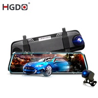 HGDO Night vision Dash cam Rearview mirror Car dvr Full hd 1080P 10 inch 2.5D touch screen recorder 170 degree Rear View Camera
