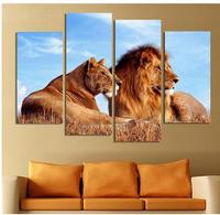 4 Panels Lion King Abstract paintings on canvas Wall Pictures For Living Room Home Decor Wall Art Canvas Print