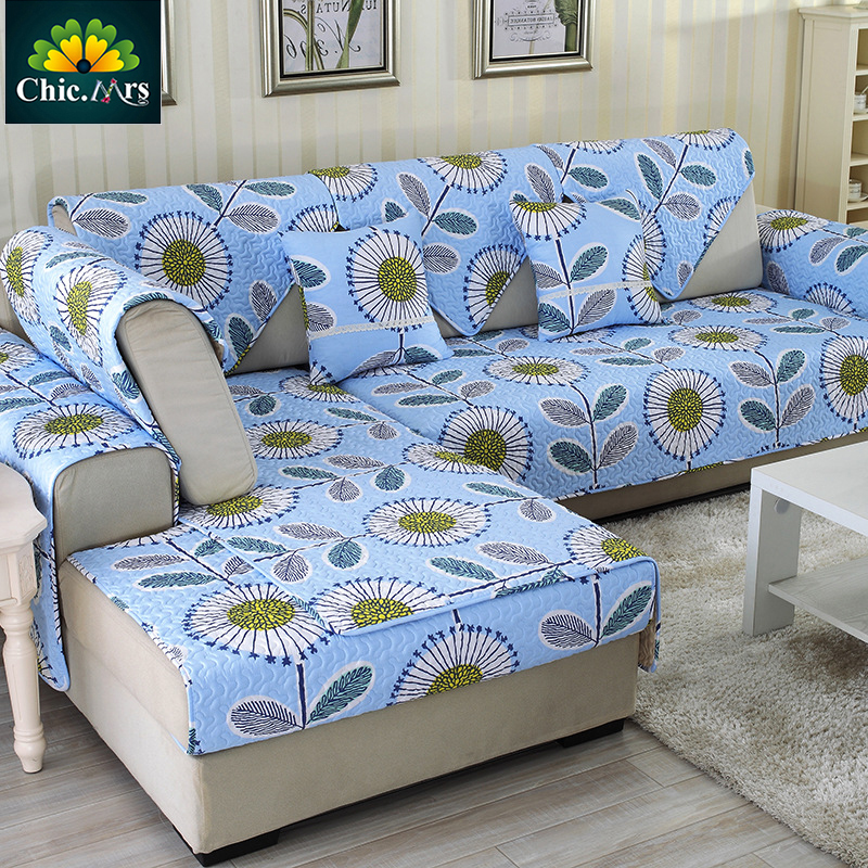 ChicMrs Quilted Floral Blue Slip Resistant Cotton Sofa Cover Couch Covers  NEW Armrest Slipcover Sectional
