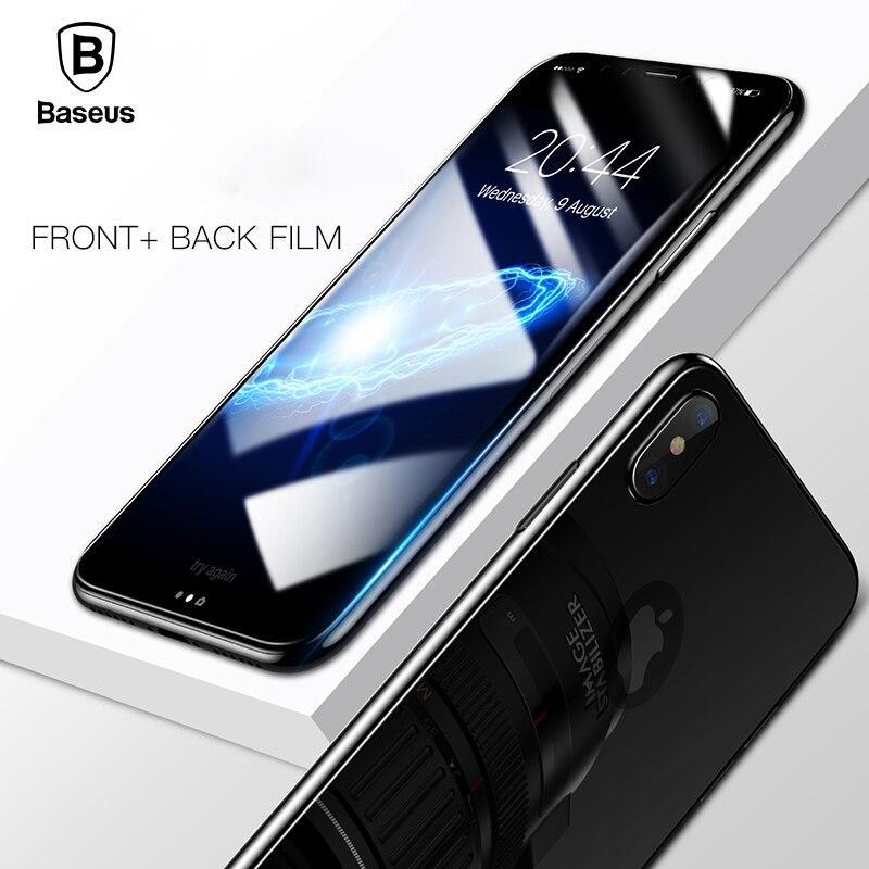 BASEUS 3D полный Экран протектор для iPhone x Закаленное Стекло передняя крышка + Back Плёнки защитный Стекло для IPhone X стекло тонкий