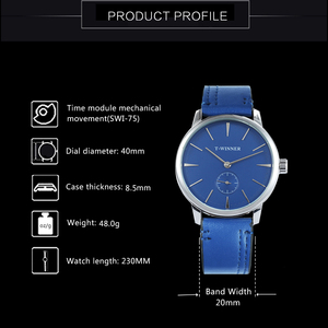 Image 2 - WINNER Official Fashion Minimalist Blue Mechanical Watch Men Leather Strap Casual Ultra Thin Mens Watches Top Brand Luxury Clock