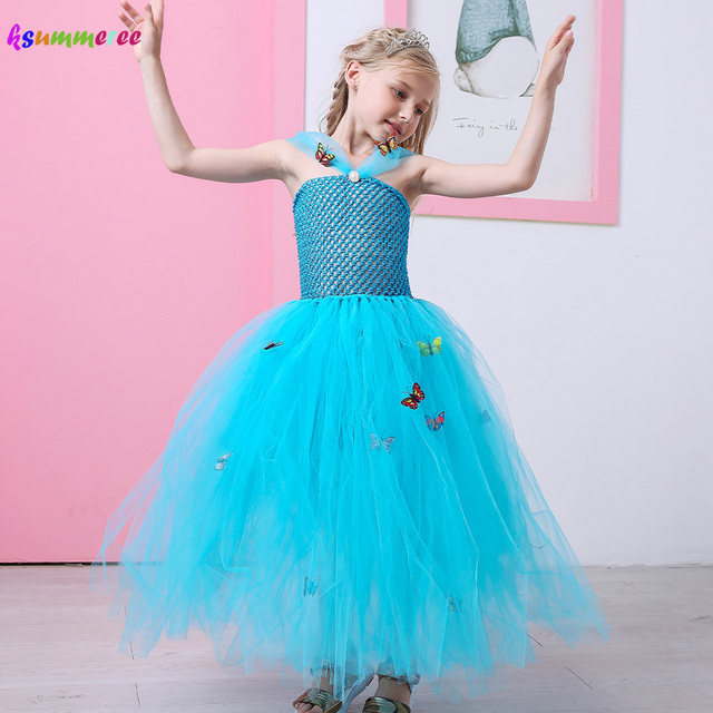 Blue Girl Cinderella Tutu Dress Butterfly Princess Kids Tulle Dress ...