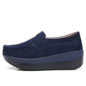Image 3 - STQ 2020 Autumn Women Flat Platform Sneakers Leather Suede Moccasins Shoes Ladies Blue Casual Oxford Shoes Slip On Flats 3213