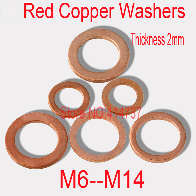 M6 M14 Thickness 2mm Red Copper Washers Flat Seal Washer Copper ...