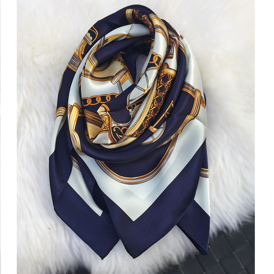 Golden Carriage 100% Silk   Scarf     Wraps   Women's Luxury Navy Silk Shawl Hijab Head   Scarves   Thicken Type 35