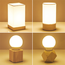 Modern Light LED Vintage Wood Table Lamp Fashonial Industrial Beside Union Lighting Fixtures