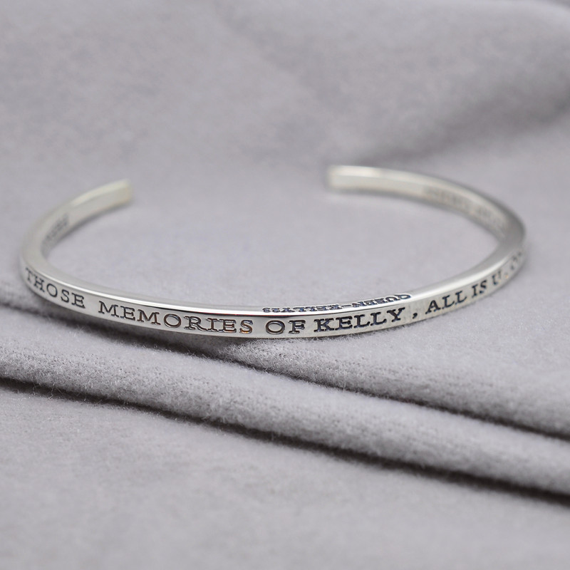 Online Whole Sterling Silver Engraved Cuff Bangle Personalized Words Quote Name Thin Band Design Uni Jewelry Gift Aliexpress Mobile