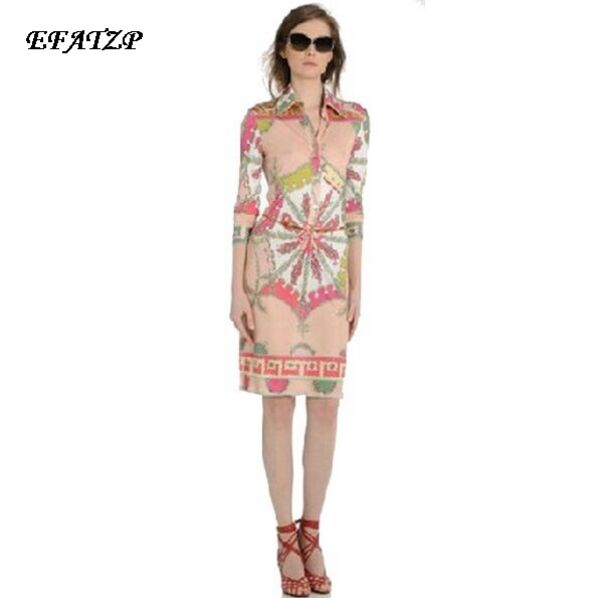 European Luxury Designer Dress Women 3 4 Sleeve Pink Geometric Printed Stretch Plus Size XXL Jersey