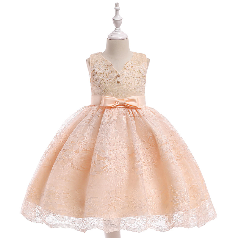 Retail Boutiques Lace Kid Formal Party Dress For Kids Elegant Children Girls Wedding Dress With Bow L5020
