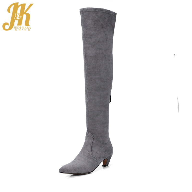 J&K Sexy Pointed Toe Over The Knee Boots Natural Suede Leather Autumn Boots 2017 Brand Kitten Heel Women Shoes New Arrival 2017 spring autumn newest design elegant brown suede concise pointed toe high heeled over the knee boots