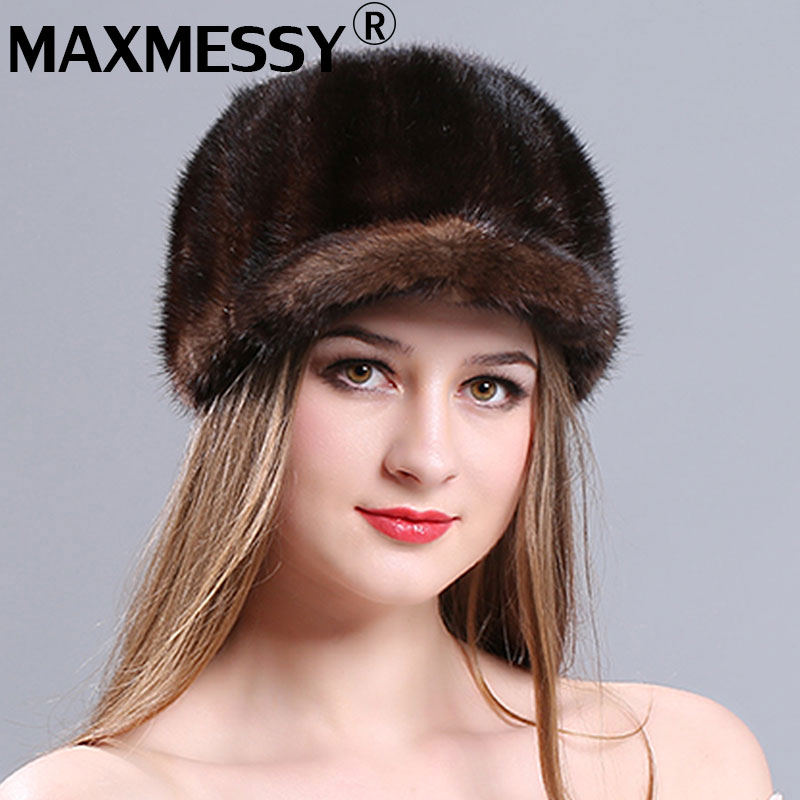 MAXMESSY  Winter new lady warm fur mink tongue cap Korean version of the lovely warp knitting embroidery mink mink cap 2017 of the latest fashion have a lovely the hat of the ear lovely naughty lady s hat women s warm and beautiful style