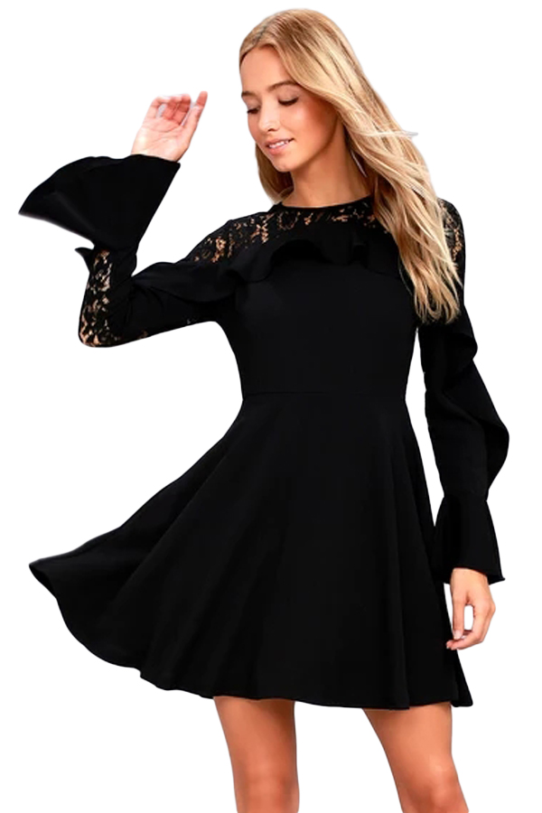 Fashion Solid Patchwork Ruffle Long Sleeve Skater Dress Women Stylish Black  Lace Mini Dress 3S220164 2-in Dresses from Women s Clothing on  Aliexpress.com ... 58559d060
