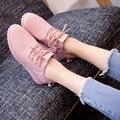 Новые Женщины Зашнуровать Скольжения На Мода Досуг Квартиры Комфорт Женская Обувь Весна Осень Мокасины Плоские Туфли розовый белый черный