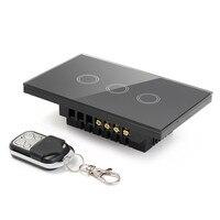 US Standard Remote Control Switch 3 Gangs 3 Way Smart Wall Light Switch Wireless Remote Control