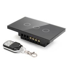 Interruptor de Control remoto estándar de ee.uu., 3 canales, interruptor de luz de pared inteligente, Control remoto inalámbrico, interruptor de luz táctil