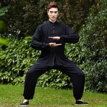 Новый черный китайский Для мужчин кунг-фу форма хлопок тай-чи костюм Винтаж Кнопка Костюмы M, L, XL, XXL, XXXL NS018
