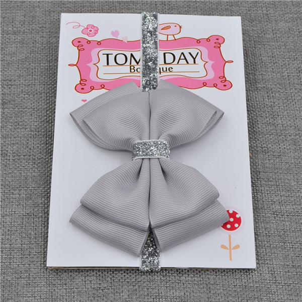 22 color new Baby hair bow flower Headband Silver ribbon Hair Band Handmade DIY hair accessories for children newborn toddler 5