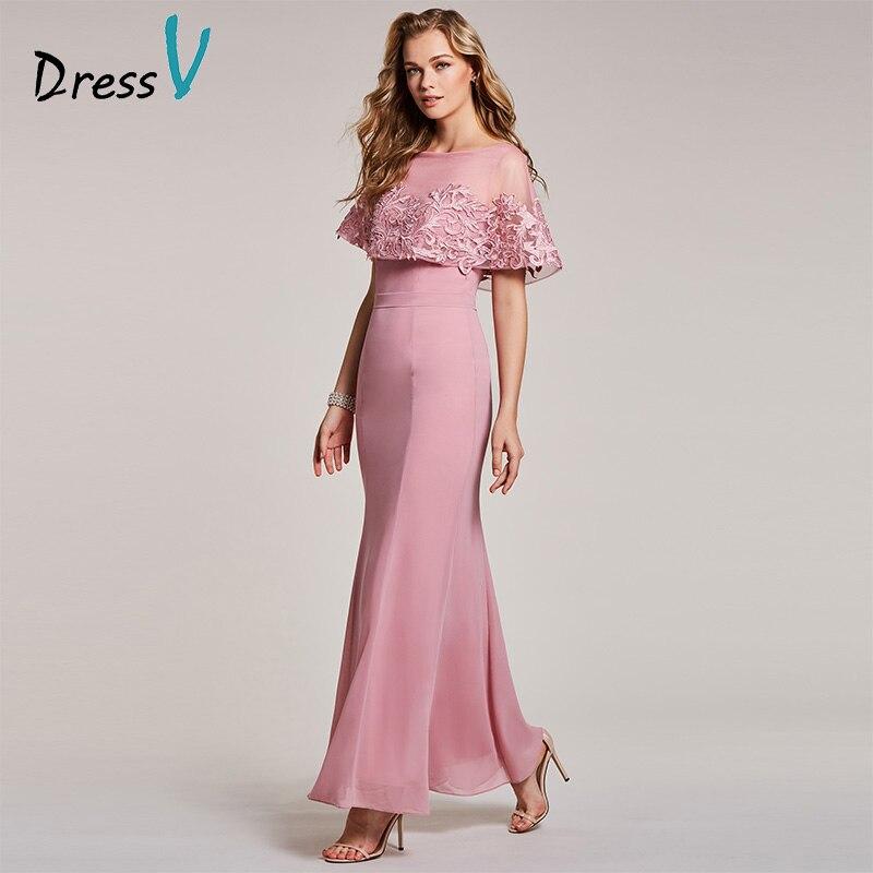 Dressv 2018 Summer Maxi   Bridesmaid     Dress   Floor Length Scoop Neck Wedding Party Prom   Dress   Elegant Pink Chiffon   Bridesmaid     Dress