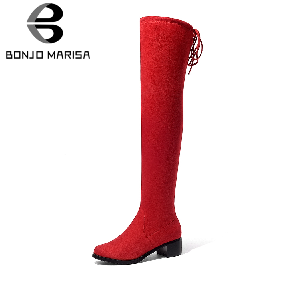 BONJOMARISA 2018 Trendy Stretch Fabric Over The Knee Boots Womens Shoes Big Size 34-43 Casual Square Heels 9 Colors Boots Woman
