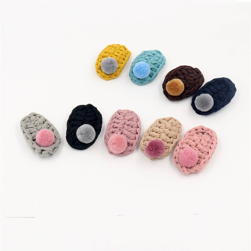 1PC Cute Pompom Mini Wool Ball Hair Clips For Baby Girls Children Lovely BB Clips Knitting Hair Pin Kids Headwear Accessories