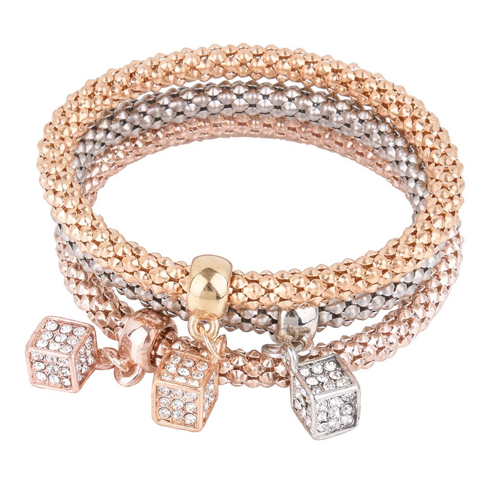 2018 New Fashion Style Corn Chain Geometry Square Shinging Jewelry Multicolor Bracelet Yellow Multi-layer Braided Bracelet Gifts