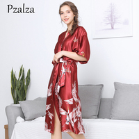 Fashion Animal Red Long Satin Robe Silk Robes For Women Ladies Bath Sleepwear Bridesmaid Robes Female Large Size XXXL