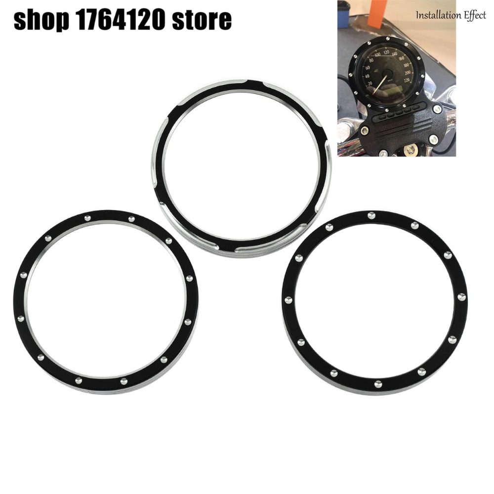 Black/Chrome Burst Billet Speedometer Trim Bezel Aluminum Cover For Harley Sportster 883 1200 Dyna Street Bob Low Rider