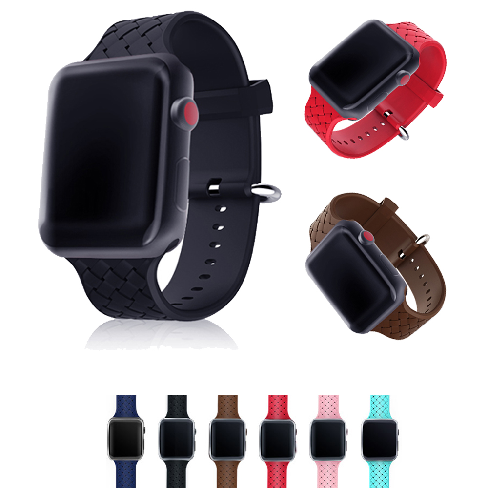 silicone Weaving strap for apple watch 3/2/1 band 42mm/38mm iwatch bracelet watch wrist belt watch accessories rubber watchband crested sport band for apple watch 42mm 38mm bracelet strap iwatch nike 3 2 1 breathabe wrist watchband rubber watch band strap