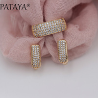 PATAYA New Arrivals Fashion Luxury Jewelry Set 585 Rose Gold Earrings Rings Sets Round White Natural