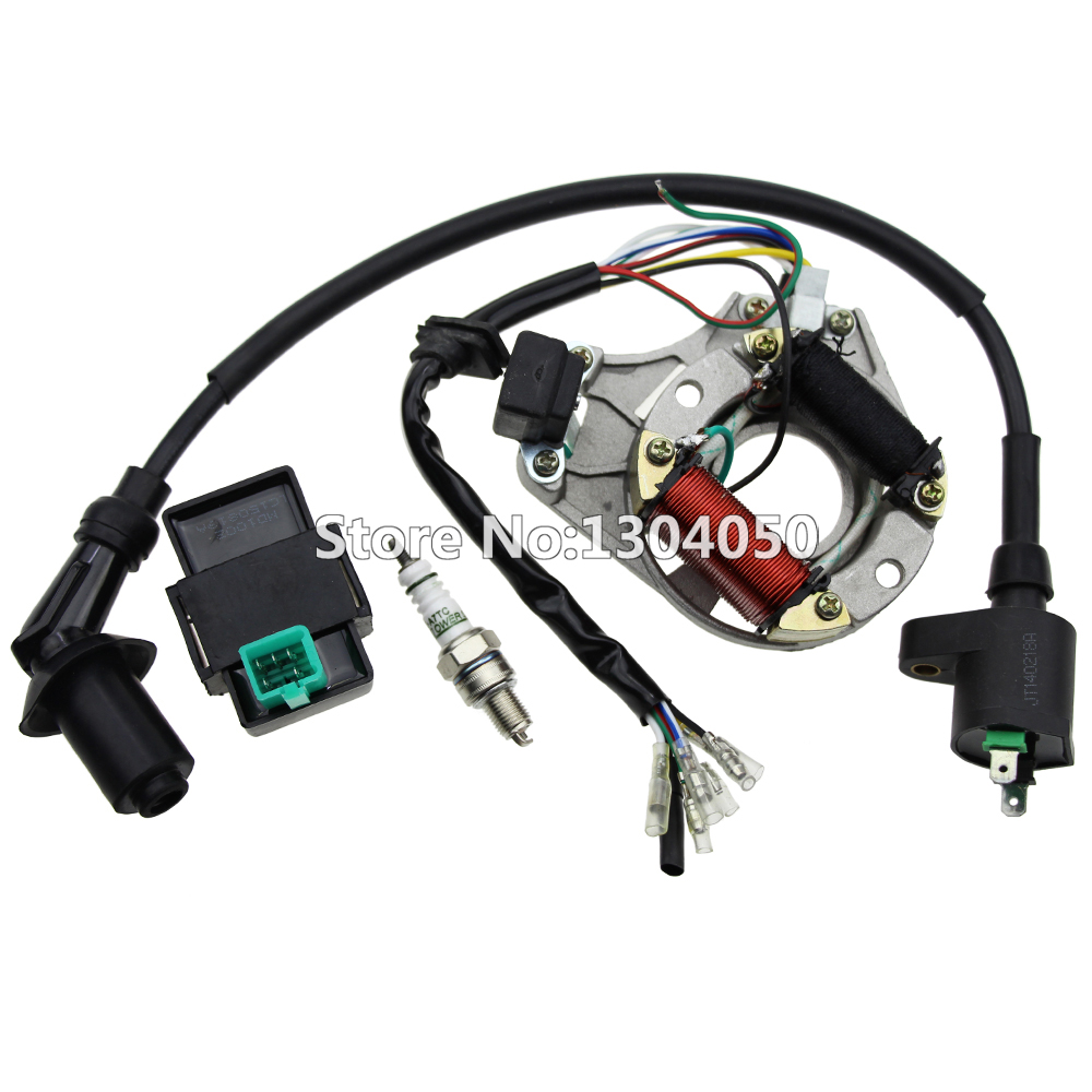 Ignition Coil ATV 125 110 90 70 50cc STATOR IGNITION MAGNETO 5 pin CDI Spark Plug AT7C Kit For Taotao Sun