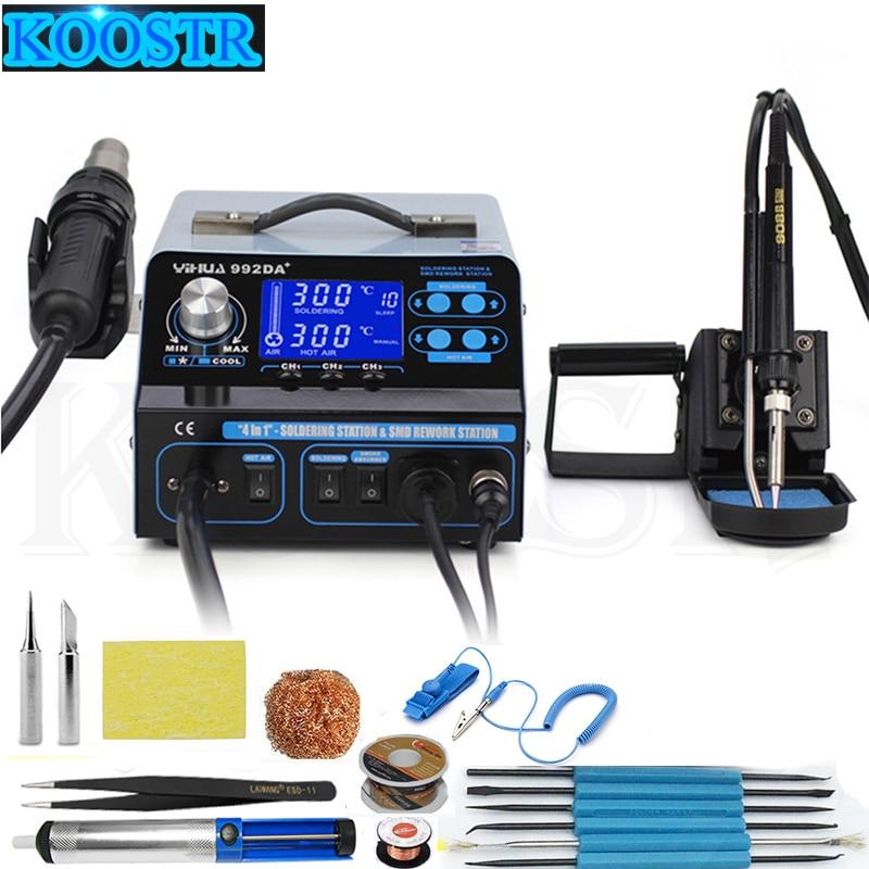 YIHUA 992DA LCD Digital Triad Heat Gun Desoldering Station Intelligent Smoking Hot Air Soldering Lron Tool