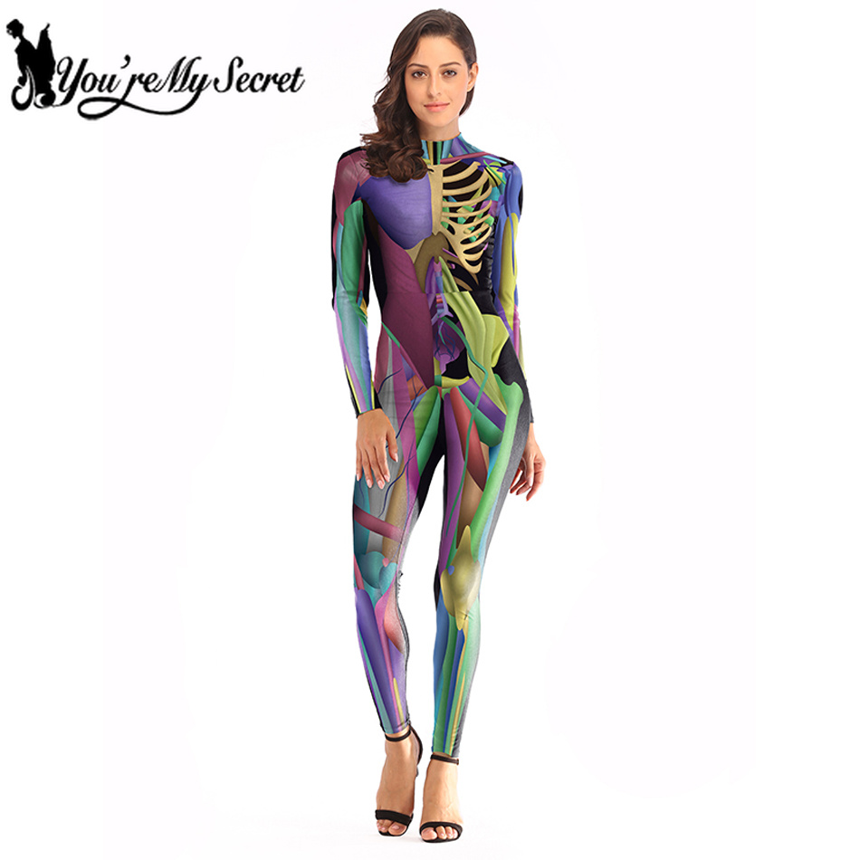 [You're MySecret] 2019 Halloween Fantastic colorful Muscle Bodysuit Skeleton Scary Sexy Costume for Women Party Jumpsuit