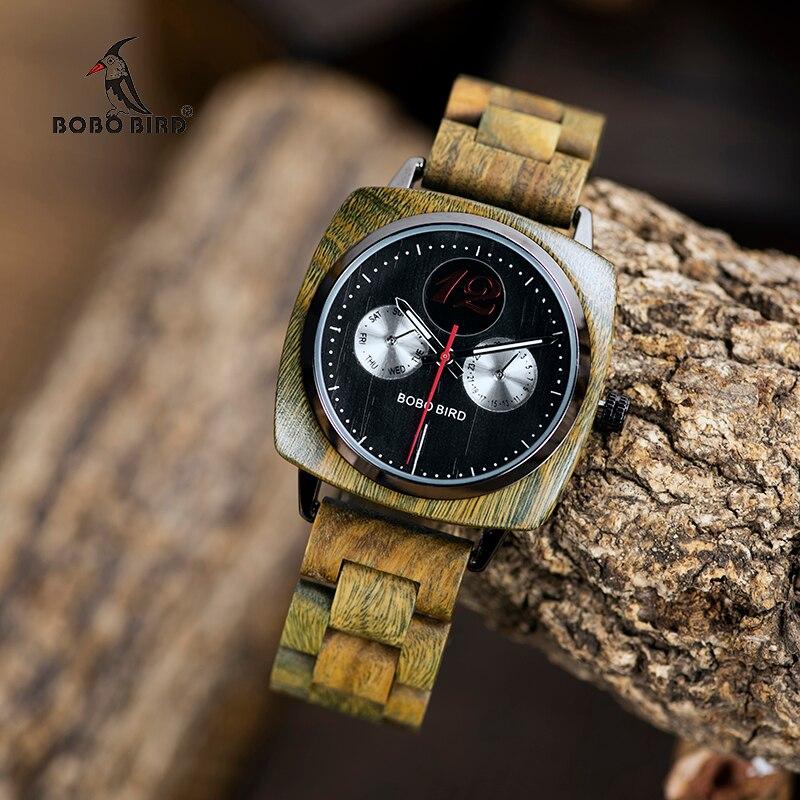 Bobo Personalizado Pássaro Relógio De Madeira Clássico Praça Dial Men Quartz Relógios de Pulso na Caixa De Madeira de Luxo dropshipping