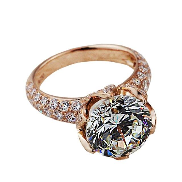 e46328ef2e8e Anillo de diamante de moissanite oro rosa 18 K Lotus anillo impresionante  joyería pavimentado 4ct Joyería