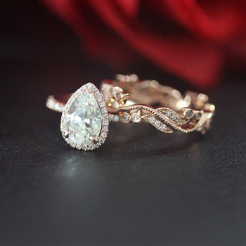 Wedding Ring Set 14K Rose Gold 1.5ct Pear Cut Moissanit Engagement Ring& Band/Anniversary/Moissanite Ring Set/Bridal Ring Set