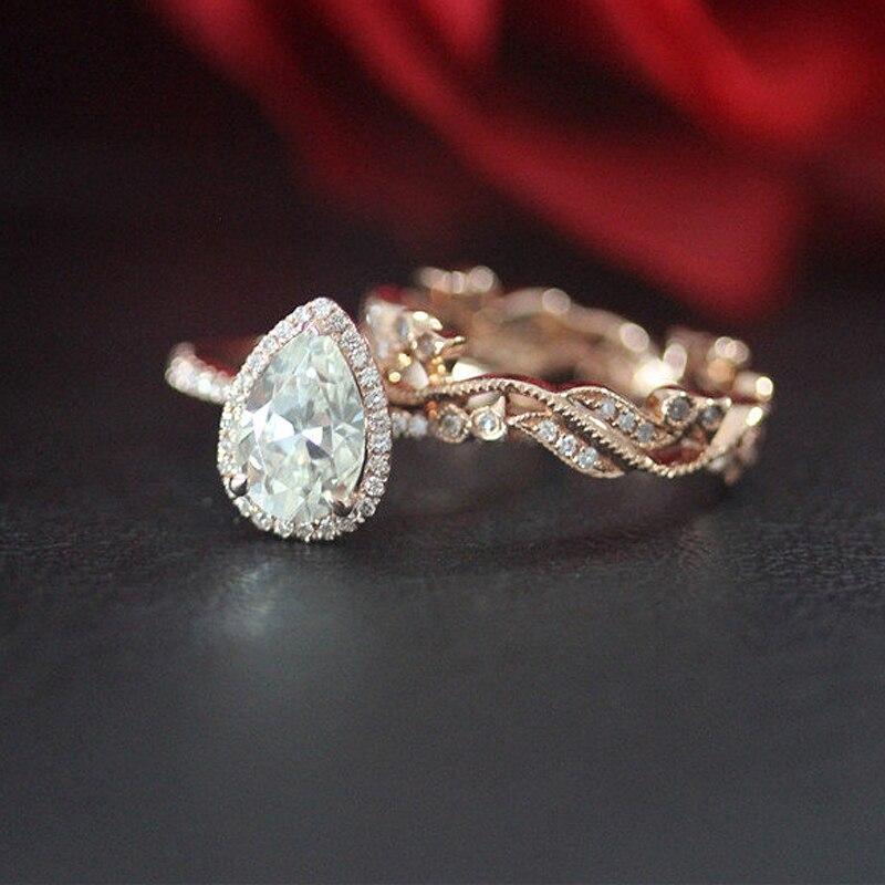 Hochzeit Ring Set 10K Rose Gold 1ct Birne Cut Moissanit Engagement Ring & Band/Jahrestag/Moissanite Ring set/Braut Ring Set-in Ringe aus Schmuck und Accessoires bei  Gruppe 1