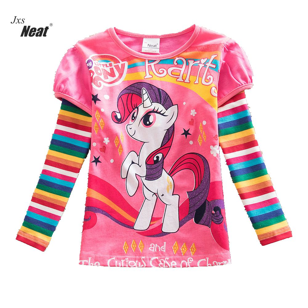 NEAT Girl Long Sleeve Clothes Kids 100% Cotton T-Shirt Rainbow stripes printing pattern girl Leisure children clothing LH606