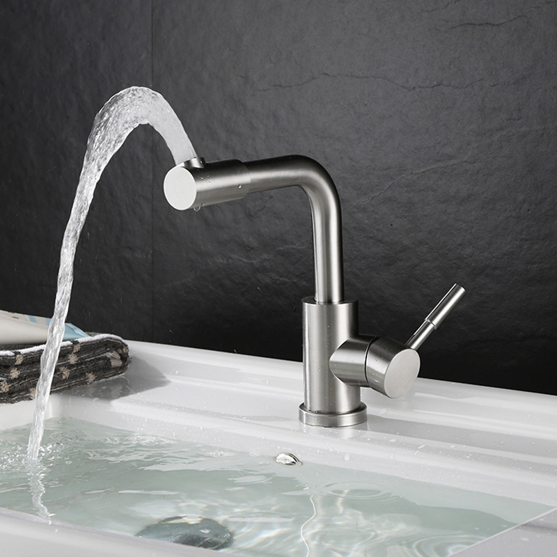 Hot Cold Basin Faucet 304 Stainless Steel Bathroom Sink Faucets Brushed Finish Mixer Water Taps Single Handle Double Control free shipping chrome hot and cold water basin sense faucet single handle automatic hand touch bathroom mixer taps