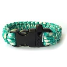 Paracord  Bracelets Kit Military Emergency Survival Bracelet Men Charm Bracelets/550 Paracord Cord   /Lightblue And White