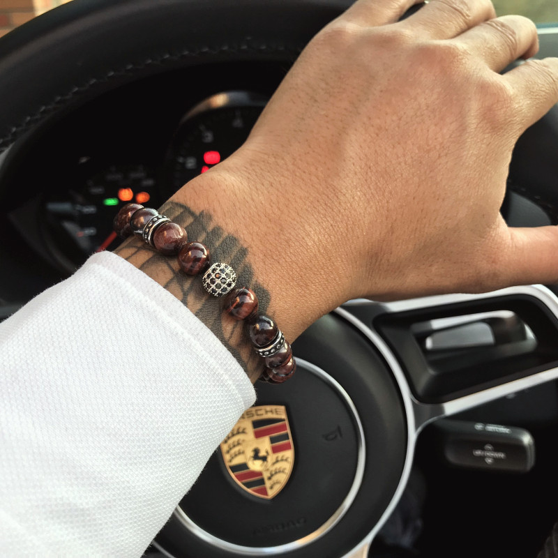 Magic fish Beads bracelet for men 8mm Natural tiger eye stone beads Stainless Steel CZ bead