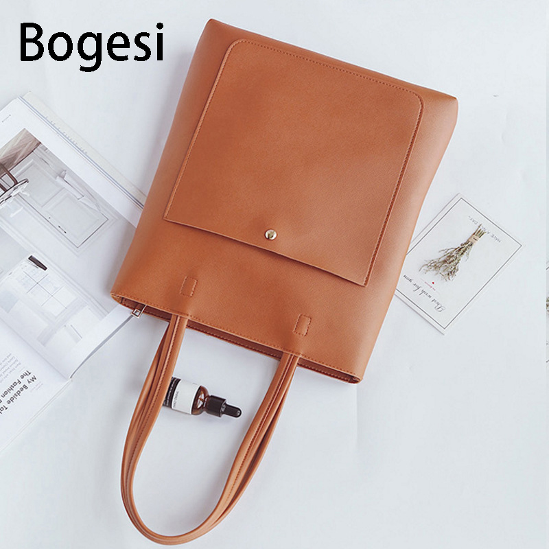 Bogesi New 2018 Casual style Women Shoulder Bags high-capacity Handbag PU Leather bags Female brief Big Totes simple Bag Ladies
