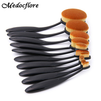 10pcs Set Pincel Oval Toothbrush Soft Makeup Brushes Set Pro Foundation Powder Concealer Highlighter Eyeshadow Make