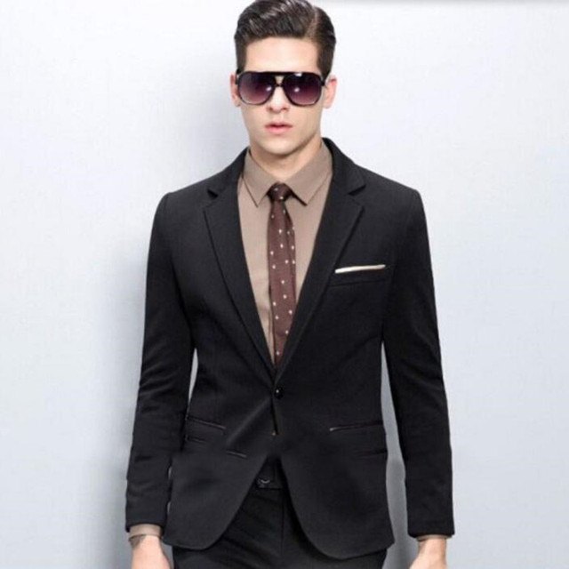 Fashion Men Suits Cool Handsome groom suits Tuxedos Slim Fit Notch ...