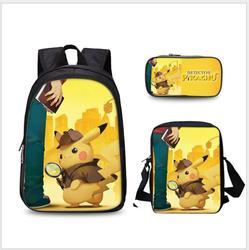 Anime Pokemon 3 sztuk zestaw plecak szkolny dla dzieci torby szkolne Pikachu druk piórnik dla dzieci Mochilas plecak szkolny 6