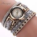 Duoya mujeres de la marca de lujo de cristal pulsera de oro de las mujeres rhinestone reloj de cuarzo relojes casuales relógio 7 colores