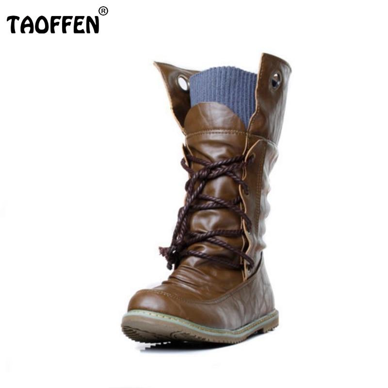 TAOFFEN women falt half short ankle boots winter  botas footwear cross strap round bohemia toe warm boot shoes P19357 size 34-43