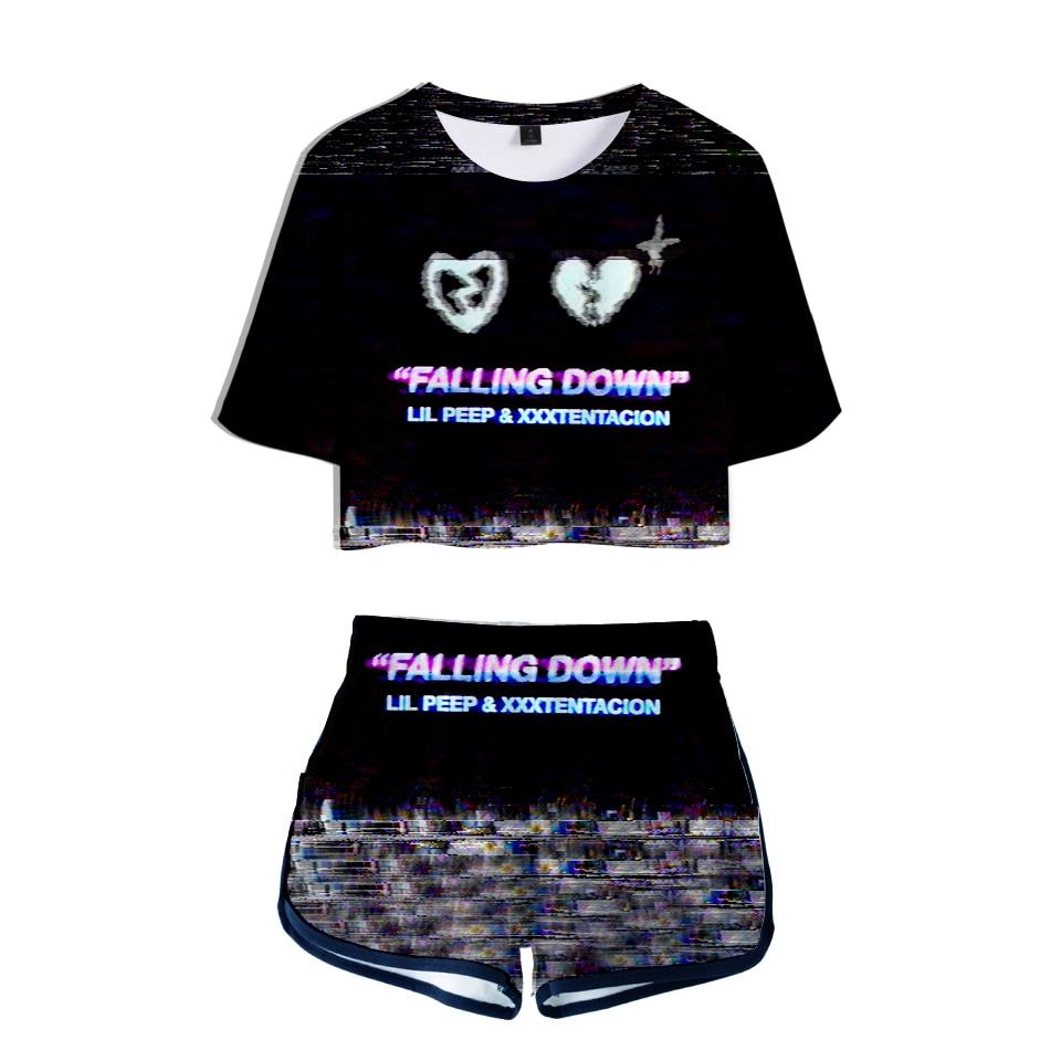 Kawaii Kpop Crop Tops Cool And Fashion Style 3D Xxxtentacion Lilpeep Shorts And T-shirt Women Clothes Harajuku Hip Hop