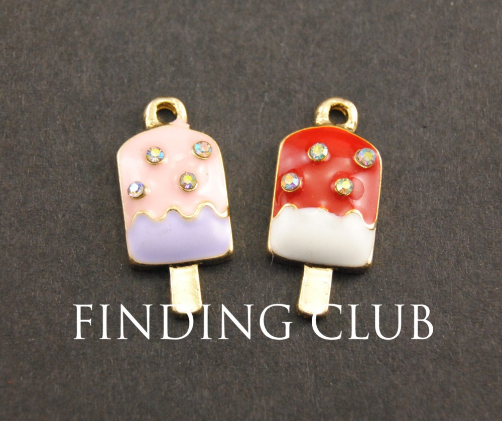 20 pcs Gold Tone Lovely Enamel Ice Cream Charm DIY Jewelry Findings B03