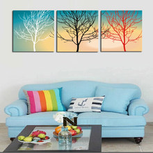 Unframed 3 Panels Abstract White Red Black Trees Landscape Canvas Print Painting Modern Canvas Wall Art for Home Decoration(China)